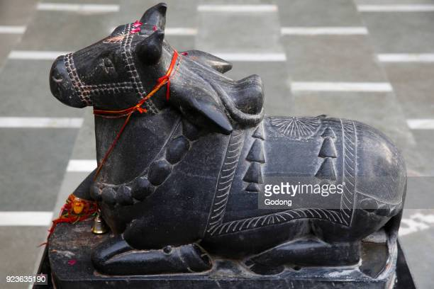 Nandi bull murthi in a Delhi Hindu temple Delhi India