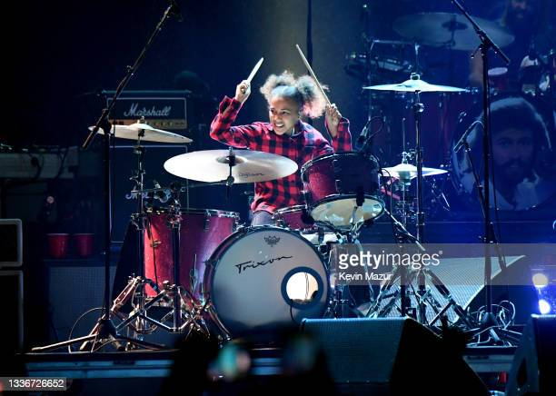 Nandi Bushell performs with Foo Fighters onstage at The Forum on August 26, 2021 in Inglewood, California.