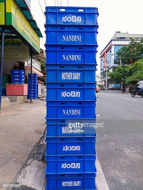 Nandini milk crates, Bangalore, India