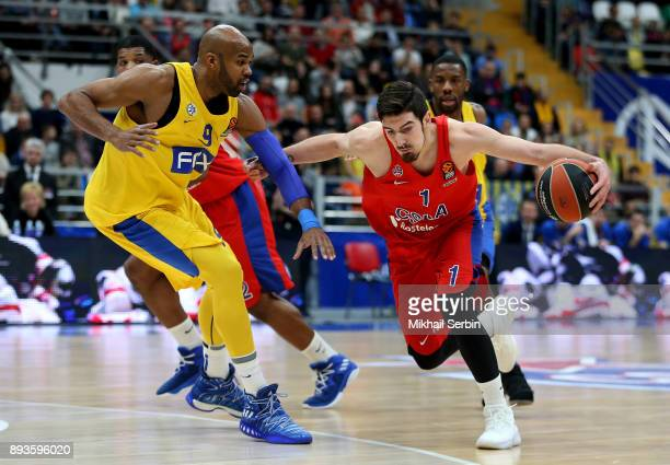 Nando de Colo #1 of CSKA Moscow competes with Alex Tyus #9 of Maccabi Fox Tel Aviv in action during the 2017/2018 Turkish Airlines EuroLeague Regular...