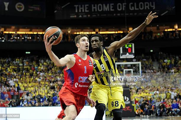 Nando De Colo #1 of CSKA Moscow competes with Ekpe Udoh #8 of Fenerbahce Istanbul during the Turkish Airlines Euroleague Basketball Final Four Berlin...