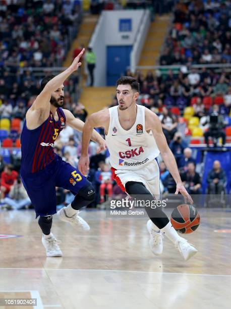 Nando de Colo #1 of CSKA Moscow competes with Pau Ribas #5 of FC Barcelona Lassa in action during the 2018/2019 Turkish Airlines EuroLeague Regular...