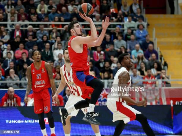 Nando de Colo #1 of CSKA Moscow in action during the 2017/2018 Turkish Airlines EuroLeague Regular Season Round 27 game between CSKA Moscow and...