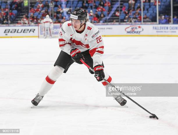 Nando Eggenberger of Switzerland during the second period of play in the Quarterfinal IIHF World Junior Championship game at the KeyBank Center on...