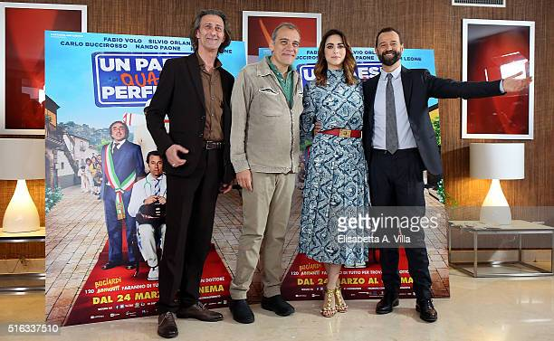 Nando Paone Massimo Gaudioso Miriam Leone and Fabio Volo attend a photocall for 'Un Paese Quasi Perfetto' on March 18 2016 in Rome Italy