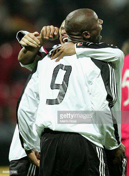 Nando Rafael and Aaron Hunt of Germany celebrates scoring the first goal during the Under 21 European Championship Qualifier match between Germany...