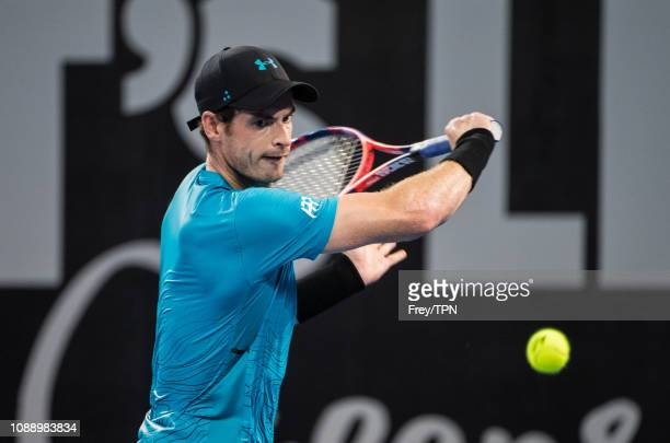 nAndy Murray of Great Britain in action against Daniil Medvedev of Russia during day four of the 2019 Brisbane International at Pat Rafter Arena on...