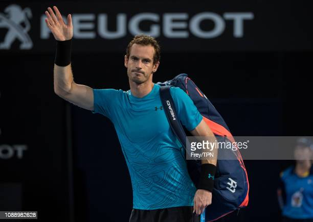 nAndy Murray of Great Britain waves to the crowd as he leaves the court after losing to Daniil Medvedev of Russia during day four of the 2019...