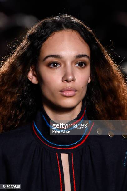 Nandy Nicodeme beauty detail walks the runway during the Sonia Rykiel show as part of the Paris Fashion Week Womenswear Fall/Winter 2017/2018 on...
