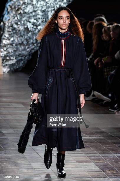 Nandy Nicodeme walks the runway during the Sonia Rykiel show as part of the Paris Fashion Week Womenswear Fall/Winter 2017/2018 on March 4 2017 in...