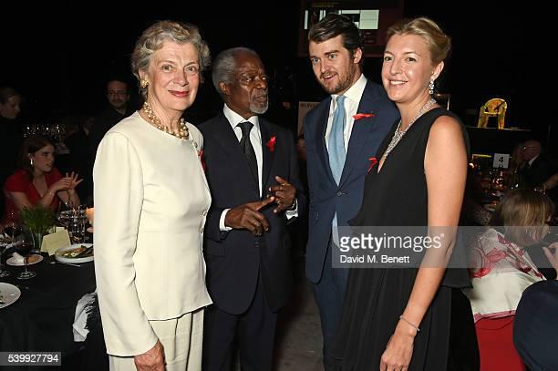 Nane Maria Annan Kofi Annan Hickman Bacon and Caroline Rupert attend the UNAIDS Gala during Art Basel 2016 at Design Miami/ Basel on June 13 2016 in...