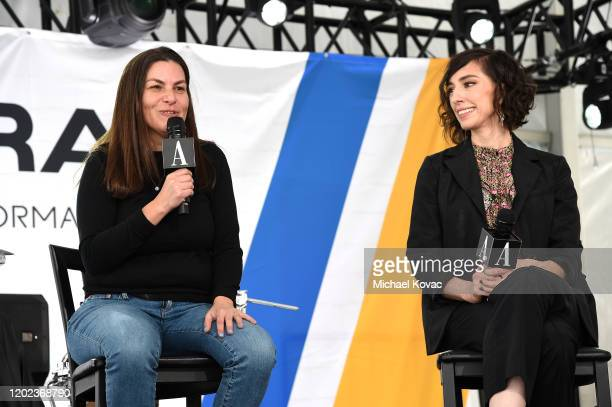 Nanette Burstein and Lana Wilson speak onstage at Acura Festival Village on January 27 2020 in Park City Utah