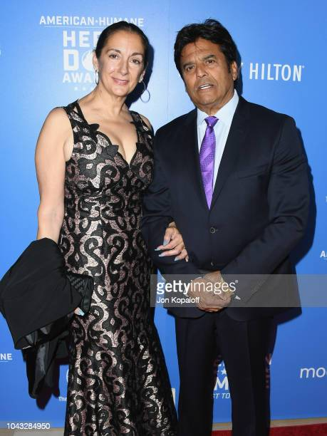 Nanette Mirkovich and Erik Estrada attends American Humane's 2018 American Humane Hero Dog Awards at The Beverly Hilton Hotel on September 29 2018 in...