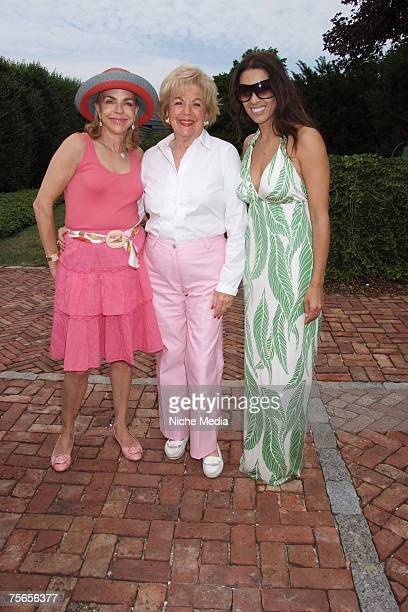 Nanette Rosenberg, Dollfey Rapprapory and Shamin Abas attend the launch of Hautie Pants at the home of Jeri Cohen on July 20, 2007 in Watermill, New...
