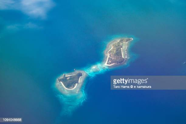 Nanga Islands in Province of Palawan in Philippines daytime aerial view from airplane daytime aerial view from airplane