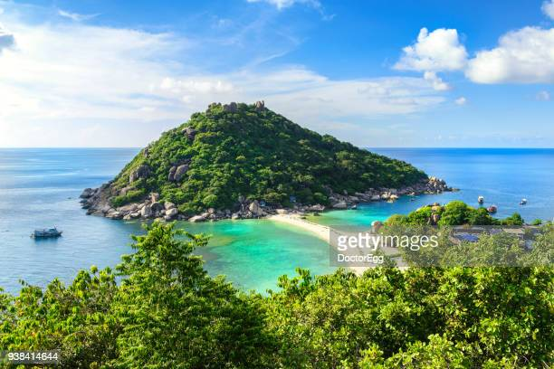 nangyuan island view point with blue sky day - ko samui stock photos and pictures