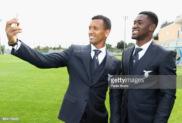 Nani and Bastos of SS Lazio during the official team photo on September 26 2017 in Rome Italy