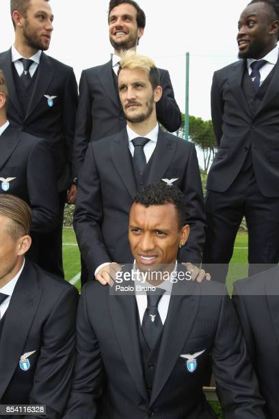 Nani and Luis Alberto of SS Lazio look on during the official team photo on September 26 2017 in Rome Italy