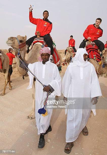 Nani and Tom Heaton of Manchester United rides a camel at the palace of HRH Prince Abdullah bin Mosa'ad bin Abdullaziz on January 23 2008 in Riyadh...