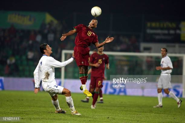 Nani and Zoran Rendulic during an international friendly match between Portugal vs Serbia on Wednesday November 15 2006 in Figueira Da Foz Portugal