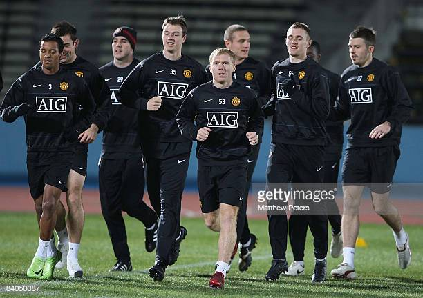 Nani Jonny Evans Paul Scholes and Darren Fletcher of Manchester United in action during a First Team Training Session ahead of the World Club Cup at...
