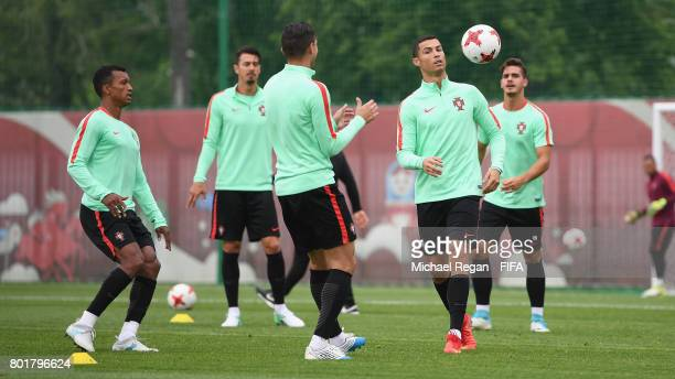 Nani Jose Fonte Cristiano Ronaldo and Andre Silva in action during the Portugal training session on June 27 2017 in Kazan Russia
