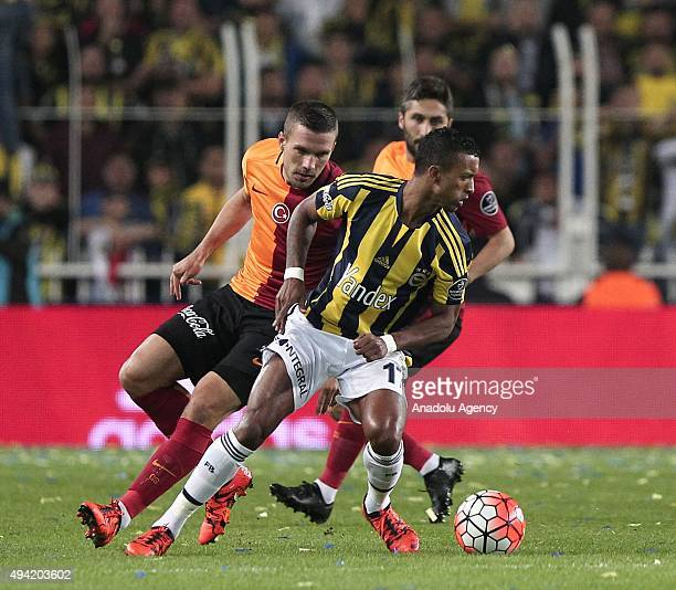 Nani of Fenerbahce in action against Lukas Podolski of Galatasaray during the Turkish Spor Toto Super League football match between Fenerbahce and...