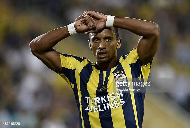 Nani of Fenerbahce reacts during the UEFA Europa League play off match between Fenerbahce and Atromitos at Sukru Saracoglu Stadium in Istanbul Turkey...