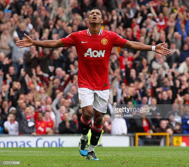 Nani of Manchester United celebrates after scoring his side's fifth goal during the Barclays Premier League match between Manchester United and...