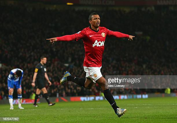 Nani of Manchester United celebrates after scoring the opening goal during the FA Cup Fifth Round match between Manchester United and Reading at Old...