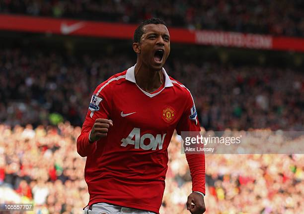 Nani of Manchester United celebrates after scoring the second goal during the Barclays Premier League match between Manchester United and West...