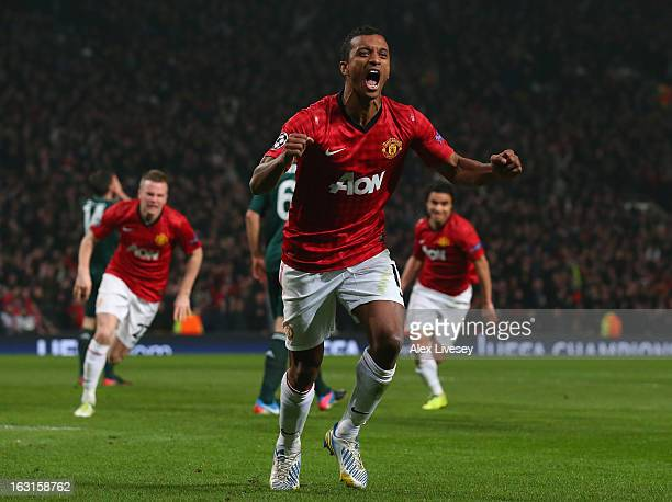 Nani of Manchester United celebrates after Sergio Ramos of Real Madrid scored an own goal during the UEFA Champions League Round of 16 Second leg...