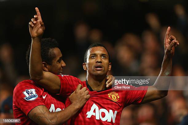 Nani of Manchester United celebrates his goal with Anderson during the Capital One Cup Fourth Round match between Chelsea and Manchester United at...