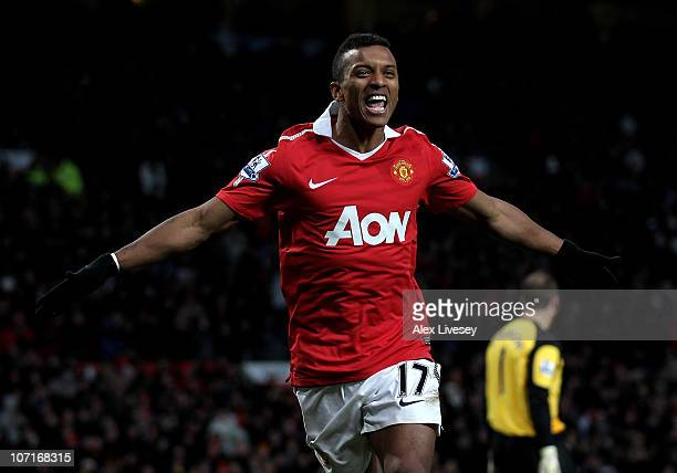 Nani of Manchester United celebrates scoring his team's fifth goal during the Barclays Premier League match between Manchester United and Blackburn...
