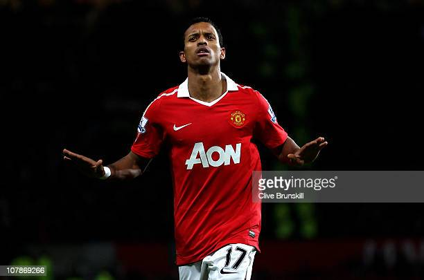 Nani of Manchester United celebrates scoring his team's second goal during the Barclays Premier League match between Manchester United and Stoke City...