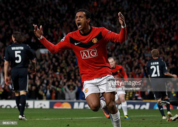 Nani of Manchester United celebrates scoring his team's second goal during the UEFA Champions League Quarter Final second leg match between...