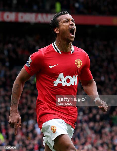 Nani of Manchester United celebrates scoring his team's third goal during the Barclays Premier League match between Manchester United and Everton at...