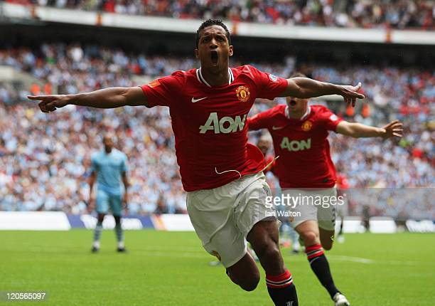 Nani of Manchester United celebrates scoring the equalising goal during the FA Community Shield match sponsored by McDonald's between Manchester City...
