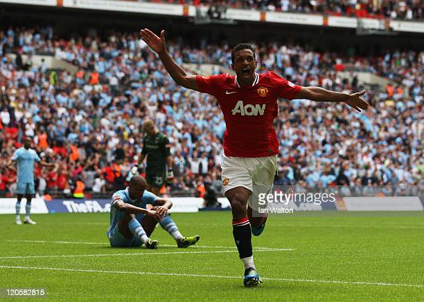 Nani of Manchester United celebrates scoring the winning goal during the FA Community Shield match sponsored by McDonald's between Manchester City...