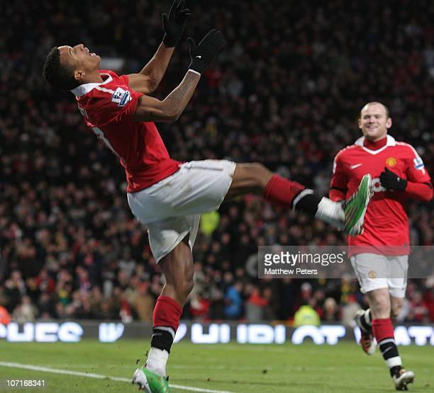 Nani of Manchester United celebrates scoring their fifth goal during the Barclays Premier League match between Manchester United and Blackburn Rovers...