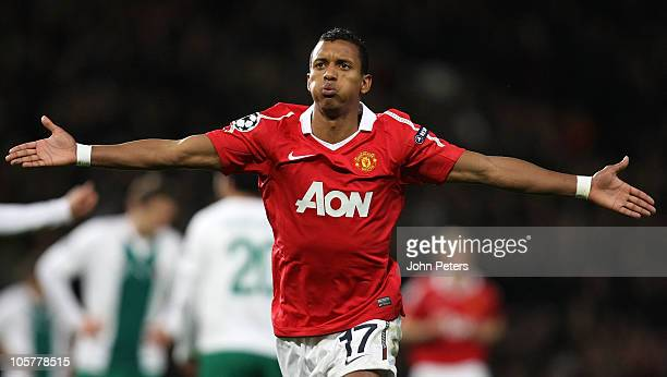Nani of Manchester United celebrates scoring their first goal during the UEFA Champions League Group C match between Manchester United and Bursaspor...