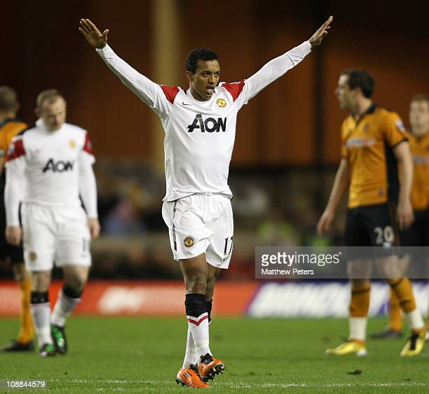 Nani of Manchester United celebrates scoring their first goal during the Barclays Premier League match between Wolverhampton Wanderers and Manchester...
