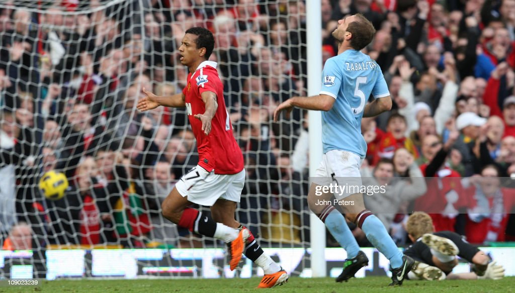 Nani of Manchester United celebrates scoring their first goal during the Barclays Premier League match between Manchester United and Manchester City at Old Trafford on February 12, 2011 in Manchester, England.