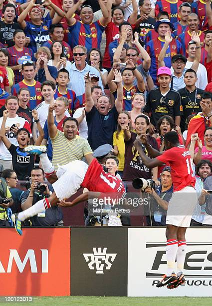 Nani of Manchester United celebrates scoring their first goal during the pre-season friendly match between Manchester United and Barcelona as part of...