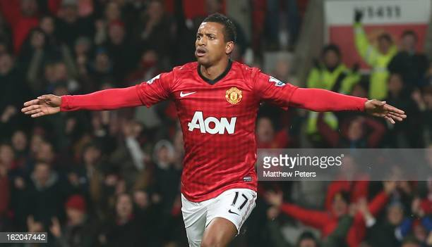 Nani of Manchester United celebrates scoring their first goal during the FA Cup Fifth Round match between Manchester United and Reading at Old...