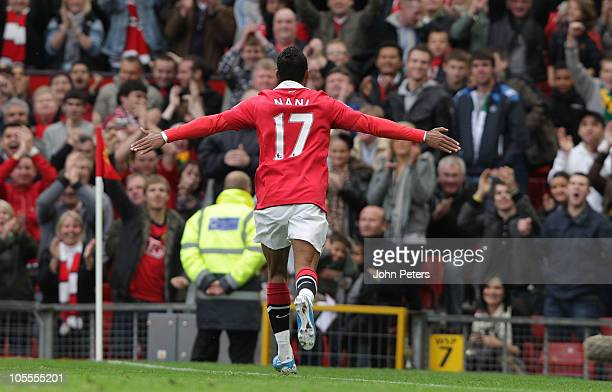 Nani of Manchester United celebrates scoring their second goal during the Barclays Premier League match between Manchester United and West Bromwich...