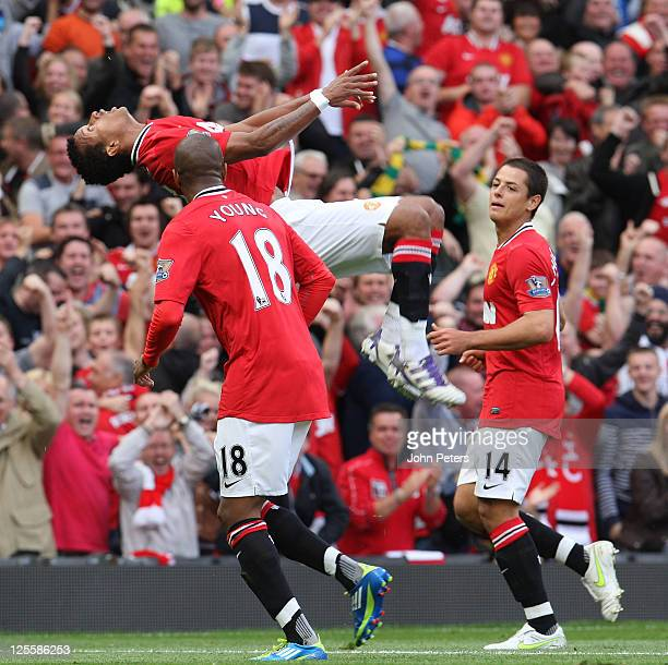 Nani of Manchester United celebrates scoring their second goal during the Barclays Premier League match between Manchester United and Chelsea at Old...
