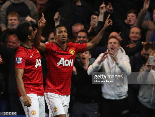 Nani of Manchester United celebrates scoring their third goal during the Capital One Cup Fourth Round match between Chelsea and Manchester United at...
