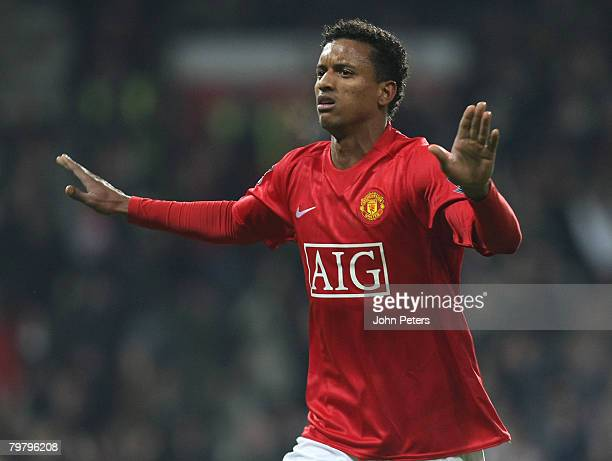 Nani of Manchester United celebrates scoring their third goal during the FA Cup sponsored by eon Fifth Round match between Manchester United and...