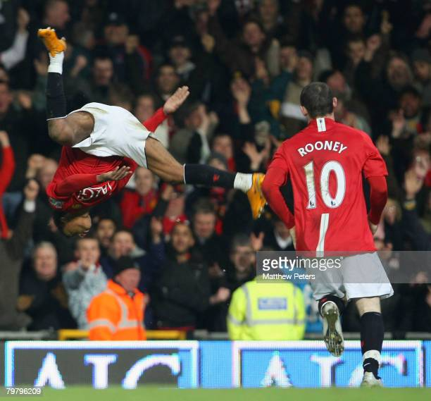Nani of Manchester United celebrates scoring their third goal during the FA Cup sponsored by eon Fourth Round match between Manchester United and...